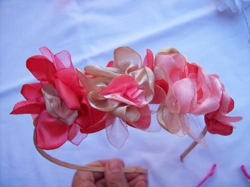 Vincha con flores de tela hechas a mano y forradas - Flores de telas hechas a mano ...