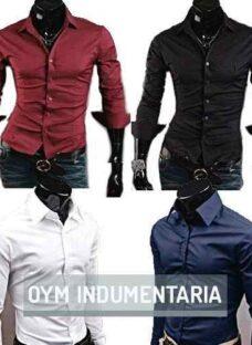 Camisa Hombre Entallada Lisa Cuello Italiano Varios Colores!