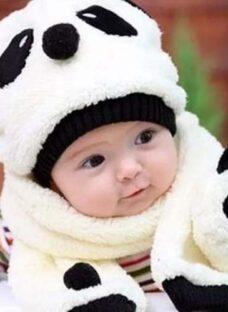 Gorro + Bufanda Panda Invierno Nieve Bebe Nene Animal