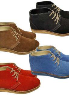 Zapato Botita Cuero Gamuzada