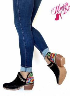 Zapato Mujer Bordado Artesanal Cuero Gamuzado Moda Otoño