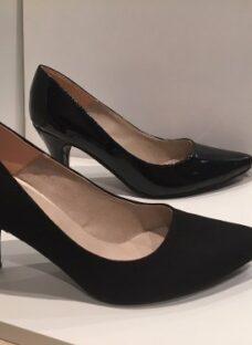 Zapatos Stilettos Ultima Moda! Negro Charol Y Simil Gamuza!
