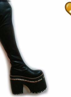 Bota Bucanera Elastizada En Cuero Leonela 17 De Shoes Bayres