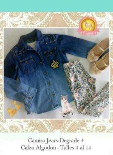 Conjunto Nenas Calza Algodon +camisa Jeans Degrade Corona