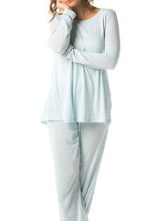 Pijama Largo Mujer 2 Piezas Celeste Mizu