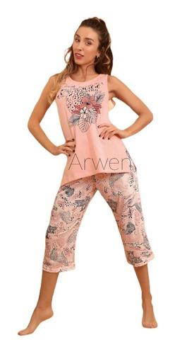 Pijama Verano 2021 Mujer Musculosa Capri Lencatex - 21776