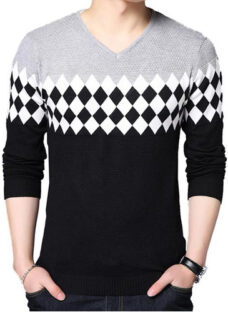 Sweater Canetti - Escote En V Guarda Ajedrez - Art. 1803