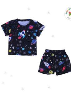 Conjunto Pijama - Remera Manga Corta Y Short Nene Y Nena